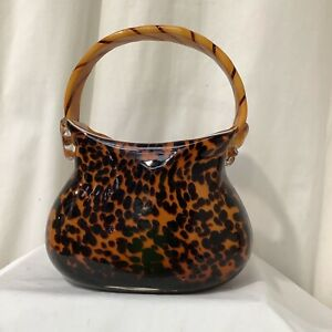 Italian Art Glass Murano Style Vincenza Style Animal Print Glass Handbag VGC - 2