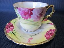 ANTIQUE HAND PAINTED MINIATURE DEMITASSE BONE CHINA TEACUP AND SAUCER
