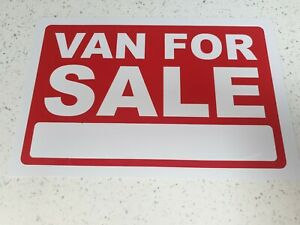 5X A4 SIZE Van For Sale Pricing FOR SALE Sign Board Plastic Card DisplayBargain