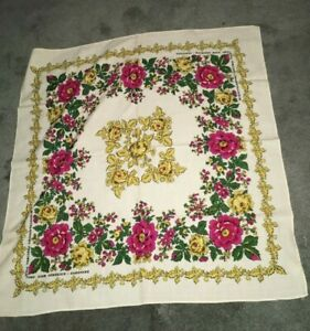 Traditional Polish large scarf shawl flower folklore cream color