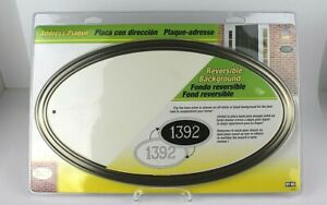 "Hy-Ko Oval Address Plaque Weather Resistant Satin Nickel W/WHITE Or BLACK 4"" NEW"