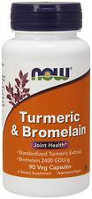 NOW Foods TURMERIC & BROMELAIN  90 Veg Caps 11/2019 Sealed Joint Health Vegan