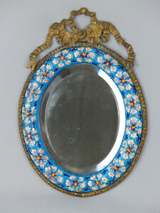 Scarce Antique Longwy Pottery and Bronze Oval Beveled Glass Wall Mirror