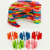 Domino Bricks Kids Colored Sort Rainbow Wood Blocks Toys Christmas Gift H