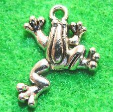 50Pcs. WHOLESALE Tibetan Silver FROG Toad Charms Pendants Earring Drops Q0817