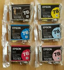 Set 6 Genuine Epson 78 Ink T0781 Black T078920 C (T0782-T0784-T0786)_Fit 77 inks