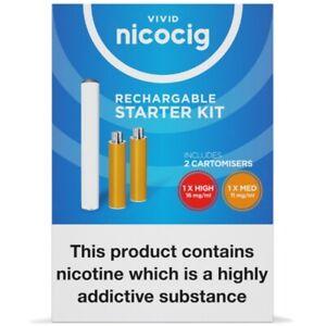 Vivid Nicocig Rechargable Starter Kit, 1xHigh, 1xMedium Battery And USB RRP£12+
