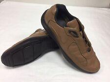 Prada Marrón Cuero Suave Italiano Hombre Zapatos Zapatillas Sneakers UK 10 nos 11 EU 44