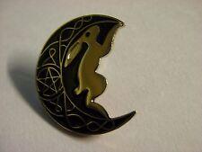 Moon Gazing Hare pin badge. Wicca Wiccan Pagan Pentagram design
