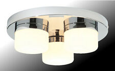 3-light Bathroom Ceiling Pendant 'Saxby Pure 34200' Chrome & Opal Glass. IP44.