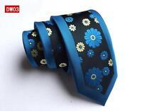 Blue Skinny Tie Black and Yellow Flower Patterned Handmade 100% Silk Wedding