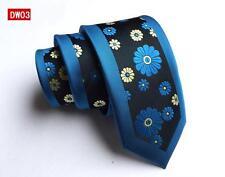 Flor azul, negro y amarillo con dibujos hechos a mano 100% Seda Skinny Boda Corbata