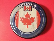 Cody Hodgson Sabres Team Canada Flag Signed Puck Auto COA