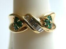 Lovely Emerald & baguette Diamond  Heavy Ring 6.25 grams14k-solid Gold $1950