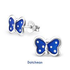 Kids 925 Sterling Silver Butterfly Stud Earrings. Blue with White Spots.