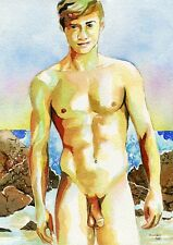 """PRINT Original Art Work Watercolor Painting Gay Male Nude """"By the water"""""""