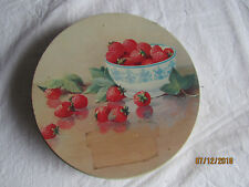 """Vtg Strawberries Bowl Table Top Collectible Tin Sewing Storage Etc 9.75"""""""