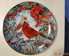 """Franklin Mint Collector Plate """"Cardinals in the Holly"""" by artist T. Politowicz"""