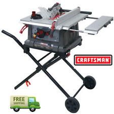 """Craftsman 10"""" Portable Table Saw Space Saving Fold Roll Stand 15 Amp Motor Pro"""
