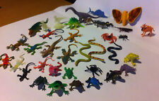 Plastic Figure Lot Spiders Snakes Dinosaurs Frogs Insects Fish 40 Pieces