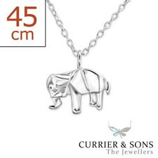 925 Sterling Silver Origami Elephant Pendant Necklace (45cm / 18 inch)