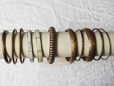 VINTAGE ETHNIC INDIAN BRASS BRACELET COLLECTION OF 11 VERSATILE CHIC SHELL INLAY