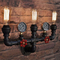 Iron Industrial Water Pipe Vintage Wall Lamp Sconce Retro Light Switch 2/3 Heads