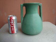 "Teco Matte Green 8"" Squared Handles Vase"