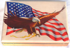 PATRIOTIC CIGAR BOX WITH PAINTED FLAG & EAGLE L@@K!!!!