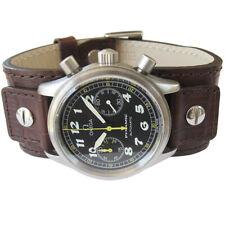 EULIT 20mm NEW Brown Crocodile Grain Leather Bund Cuff German Watch Band Strap