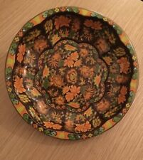 "Vintage Daher Decorated Ware Tin Bowl England, Orange & Green Floral Design 10"""