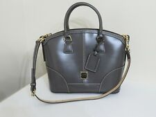 DOONEY & BOURKE SELLERIA FLORENTINE LEATHER DOMED SATCHEL BAG PURSE NEW GRAY