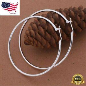 "Womens 925 Sterling Silver 50mm 2"" Big Round Large Thin Hoop Earrings"