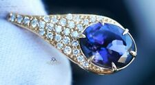 Tanzanite Pendant Diamond Gold 14K Yellow 4.6CTW NO HEAT GIA Certif RETAIL $9900