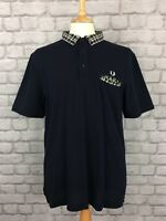 FRED PERRY MENS UK XL NAVY BLUE CHECK COLLAR SHORT SLEEVE POLO SHIRT DESIGNER