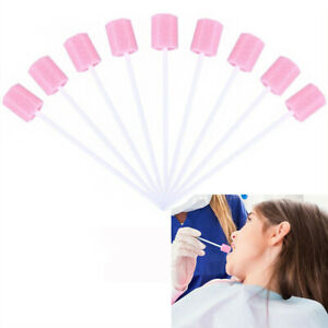100Pcs Disposable Oral Care Sponge Swab Tooth Cleaning Mouth Swabs w/ Sticks