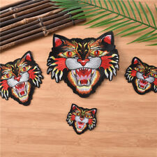 Tiger Head Badge Iron on Patches Embroidered Sticker Garment Bags Shoes Fabric
