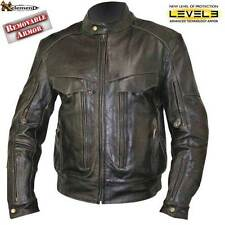 Men's Distress Retro Leather-Look Bandit Buffalo Leather Jacket with Armor M