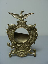 ANTIQUE AMERICAN BRASS POCKET WATCH HOLDER / DISPLAY STAND with EAGLE