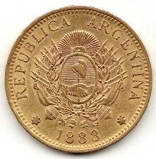 ARGENTINA 1888 GOLD 5 PESOS (1 ARGENTINO) AU