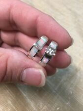 Native American Womens Navajo Opal Inlay Wedding Band Set Ring Nice Size 7  #A
