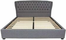 Barletta Tufted Upholstered King Size Platform Bed in Light Gray Fabric New