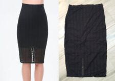 NEW bebe Stripe Mesh Midi Black Skirt XXS STYLE 269932 NWOT $69