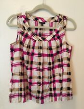 Talbots' Top, Loose Pleat Front, Print, Sleeveles, Multicolor, Size 10P
