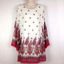 NWT Lady Noiz Womens Long Sleeve Tunic Top Shirt Cream Pink Paisley Floral Lined