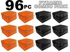 ComBo 96 pack ORANGE & charcoal GREY Acoustic Pyramid Sound Studio Foam 12x12x1