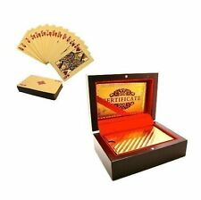 More details for 24k luxury gold plated playing cards deck poker gift box set certificate new