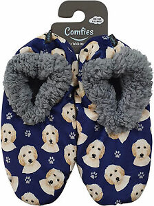 Comfies Womens Goldendoodle Dog Slippers - Sherpa Lined Animal Print Booties