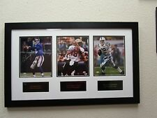 Archie, Peyton, and Eli Manning QBs Signed & Framed Big Piece SM Holo