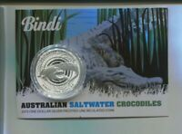 2013 Bindi Saltwater Crocodiles 1oz Silver UNC $1 Coin Carded Australia